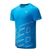 Polera Running Hombre New Balance Printed Accelerate SS Celeste